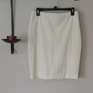 Summery Cream Pinstripe Express Skirt, Size 8